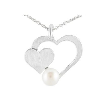Kette 2 Herzen mit Perle