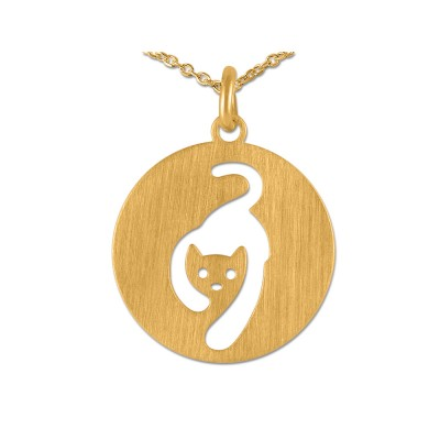 Anhänger Katze inkl. Kette goldplattiert