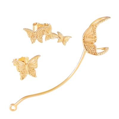 Nadja Schmetterlings Set goldplattiert