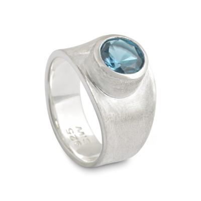 PUR Ring, Topas blau 8 mm