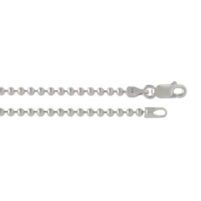 Silber Kugelkette 2,5mm 80cm rhodiniert