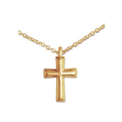 Mini Anhänger Kreuz goldplatt 8x12 mm Silberkette