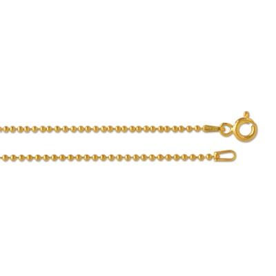 Silber Kugelkette 1,5 mm 42cm goldplattiert