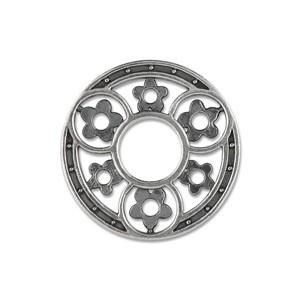 Scheibe 3 Kreise mit Blumen, 22 mm, geschwärzt