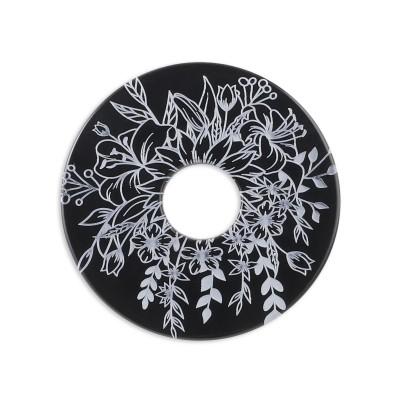 Acryl Scheibe 28mm, Blumenstrauss schwarz