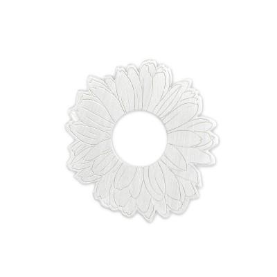 Silber Blume 23mm ohne Acrylscheibe