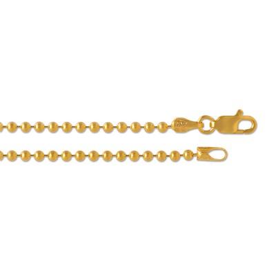 Silber Kugelkette 2,5mm 80cm goldplattiert