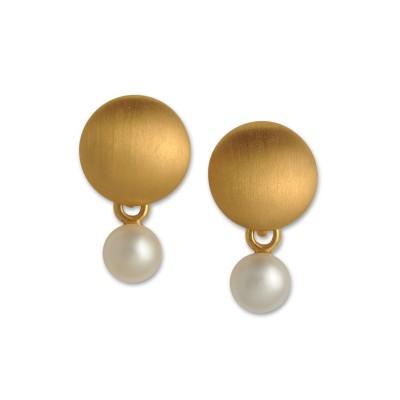 Perlzeit Ohrhänger 10,5 mm, Perle 5 mm, goldplattiert