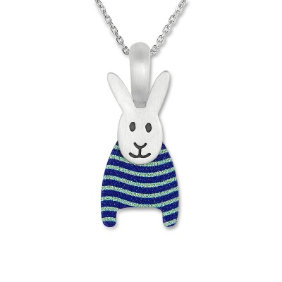 LITTLE FRIENDS; Hase blau/weiss mit Silberkette