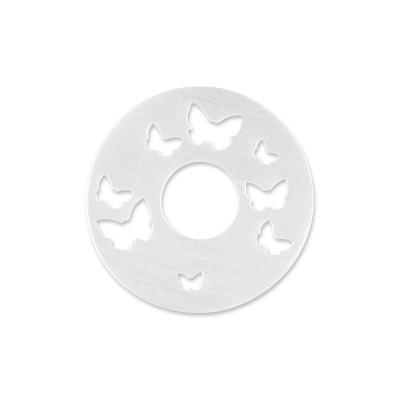 Silber Schmetterlinge 22mm ohne Acrylscheibe