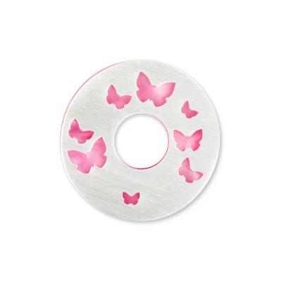 Silber Schmetterlinge 22mm inkl. Acrylscheibe