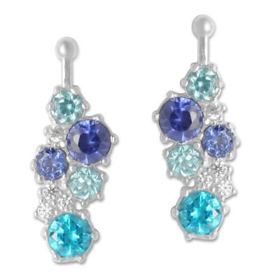 Combi Crystal, blue, 8x21mm, Zirkonia Paveé