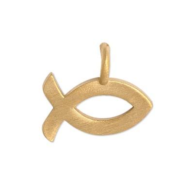 Mini Anhänger Ichtys goldplatt. 11mm ohne Kette