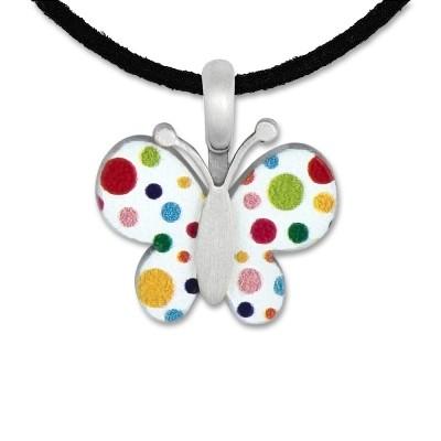 LITTLE FRIENDS; Schmetterling weiß/bunt 15x17mm