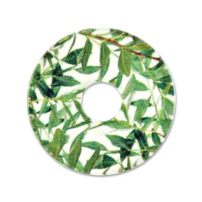 Acryl Scheibe 28mm Grüne Blätter