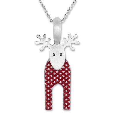 LITTLE FRIENDS; Hirsch rot mit Silberkette